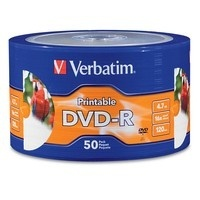 Verbatim Torre de Discos Virgenes Imprimibles para DVD, DVD-R, 16x, 50 Discos