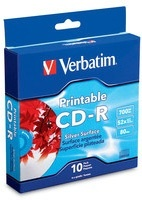 Verbatim Discos Virgenes Imprimibles, CD-R, 52x, 700MB, 10 Piezas