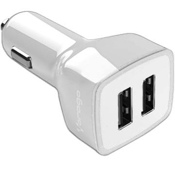 Vorago Cargador para Auto AU-103 V2, 5V, 2x USB 2.0, Blanco