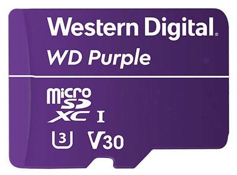 Memoria Flash Western Digital WD Purple, 128GB MicroSDXC V30 Class 3 (U3), para Videovigilancia