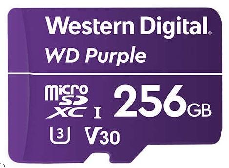 Memoria Flash Western Digital WD Purple, 256GB MicroSDXC V30 Class 3 (U3), para Videovigilancia