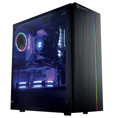Gabinete XZEAL XZ105 con Ventana, Midi Tower, ATX/Micro ATX/Mini-ITX, USB 2.0/3.0, sin Fuente, Negro