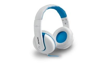 Acteck Audífonos HD-600, Alámbrico, 1.2 Metros, 3.5mm, Blanco/Azul