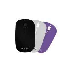 Mouse Acteck Óptico M110, RF Inalámbrico, 1200DPI - con Caratulas Intercambiables Negro/Blanco/Morado