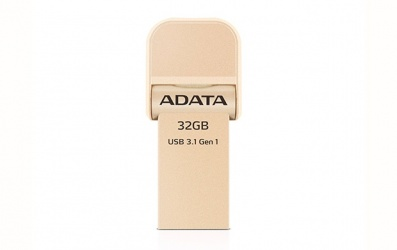 Memoria USB Adata AI920, 32GB, Lightning/USB 3.0, Oro - para iPhone/iPad/iPod