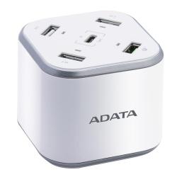 Adata Cargador de Pared Smart HUB Múltiple, 12V, 5 Puertos USB 2.0, Plata/Blanco