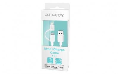 Adata Cable USB 2.0 2 en 1, USB A Macho - micro-USB B/Lightning Macho, 1 Metro, Blanco