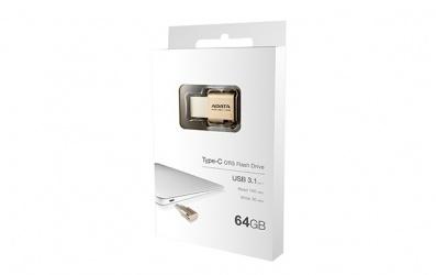 Memoria USB Adata UC350, 64GB, USB 3.1 Tipo C, Dorado