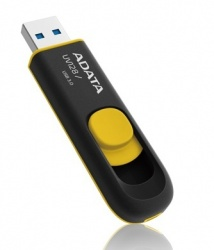Memoria USB Adata DashDrive UV128, 32GB, USB 3.0, Negro/Amarillo