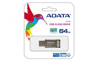 Memoria USB Adata UV131, 64GB, USB 3.0, Gris