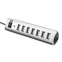 Adesso Hub USB 2.0 Macho - 7 Puertos USB Hembra, 480Mbps, Plata