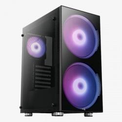 Gabinete Aerocool Python con Ventana ARGB, Midi-Tower, ATX/Micro-ATX /Mini-ITX, USB 3.0, sin Fuente, Negro