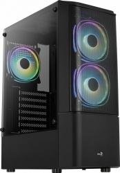 Gabinete Aerocool Quantum con Ventana RGB, Midi-Tower, ATX/Micro ATX/Mini-ITX, USB 3.0, sin Fuente, Negro