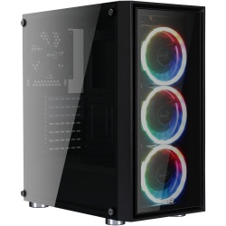 Gabinete Aerocool Quartz REVO RGB con Ventana, Midi-Tower, ATX/Micro ATX/Mini-ATX, USB 3.0, sin Fuente, Negro