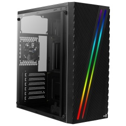 Gabinete Aerocool Streak con Ventana RGB, Midi-Tower, ATX/Micro ATX/Mini-ITX, USB 2.0/3.0, sin Fuente, Negro