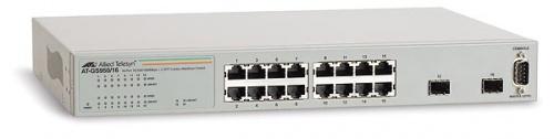 Switch Allied Telesis Gigabit Ethernet WebSmart, 16 Puertos 10/100/1000 Mbps + 2 puertos SFP, 8000 Entradas - Gestionado