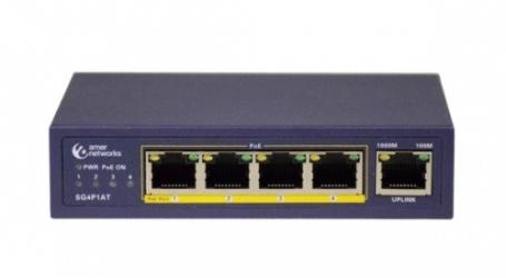 Switch Amer Networks Gigabit Ethernet SG4P1AT, 4 Puertos 10/100/1000Mbps, 8 Gbit/s, 1000 Entradas - No Administrable