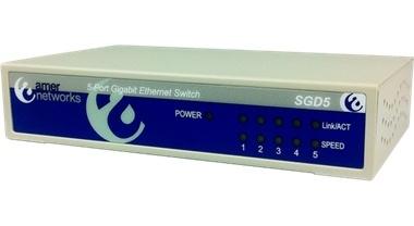 Switch Amer Networks Gigabit Ethernet SGD5, 5 Puertos 10/100/1000Mbps, 8000 Entradas - No Administrable