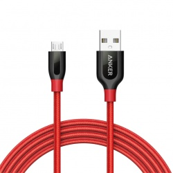 Anker Cable PowerLine+ USB A Macho - Micro-USB B Macho, 1.8 Metros, Rojo