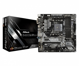 Tarjeta Madre ASRock micro ATX B450M Pro4, S-AM4, AMD B450, HDMI, 64GB DDR4 para AMD ― Requiere Actualización de BIOS para Ryzen Serie 5000