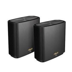 Router ASUS con Sistema de Red Wi-Fi en Malla ZenWiFi AX (XT8), 6600 Mbit/s, Tribanda 2.4/5/5GHz, 6 Antenas Internas, Negro - 2 Piezas
