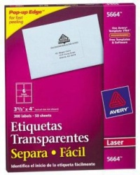 Avery Etiquetas Transparentes 5664, 300 Etiquetas de 3.33 x 4''