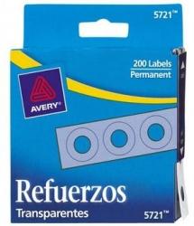 Avery Refuerzos de Hojas, Diámetro 6.35mm, Paquete de 200 Piezas, Transparente