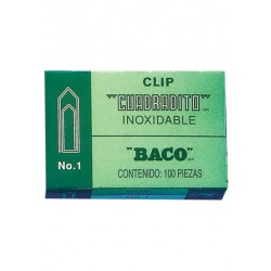 Baco Clips Cuadradito No.1 Niquelado, 100 Clips