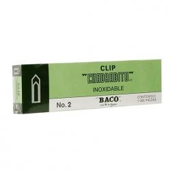 Baco Clips Cuadradito No.2 Niquelado, 100 Clips