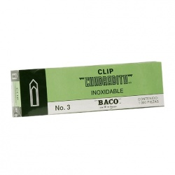 Baco Clips Cuadradito No.3 Niquelado, 100 Clips