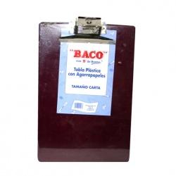Baco Tabla de Plástico con Agarrapapeles, Tamaño Carta, Marrón
