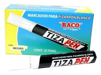 Baco Marcador para Pizarrón Blanco TIZAPEN, Negro, 12 Piezas