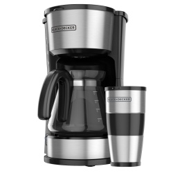 Black & Decker Cafetera CM0755S-MX, para 5 Tazas, Negro/Acero Inoxidable