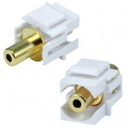 BRobotix Adaptador de Audio 3.5mm Hembra - 3.5mm Hembra, Blanco/Oro
