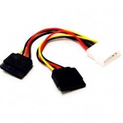 BRobotix Cable de Poder 2 x SATA de 15 pines Macho - Molex Hembra, 15cm