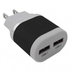 BRobotix Cargador USB 161264N, 2x USB 2.0, Negro