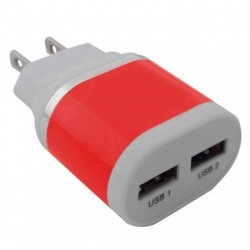 BRobotix Cargador USB 161264O, 2x USB 2.0, Rojo
