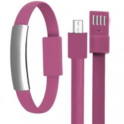 BRobotix Cable Pulsera USB Macho - Micro-USB B Macho, 22cm, Rosa