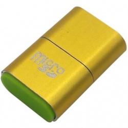 BRobotix Lector de Memoria 170188D, MicroSD, USB 2.0, Dorado