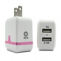 BRobotix Cargador de Pared 180401R, 5V, 2x USB, Blanco/Rosa