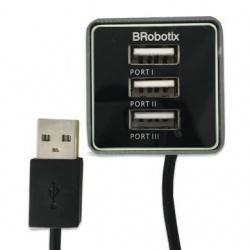 BRobotix Hub 247740H USB 2.0, 3 Puertos USB 2.0, Negro/Gris