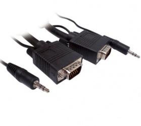 BRobotix Cable VGA/3.5mm Macho - VGA/3.5mm Macho, 4.5 Metros, Negro
