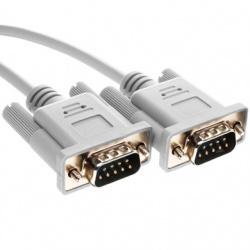 BRobotix Cable DB9 Macho - DB9 Macho, 3 Metros, Blanco