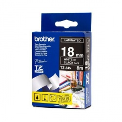 Cinta Brother TZ-345 Blanco sobre Negro, 18mm x 8m