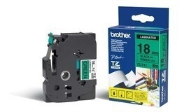 Cinta Brother TZE741 Negro en Verde, 18mm x 8m