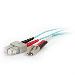 C2G Cable Fibra Óptica Dúplex Multimodo OM4 LC Macho - SC Macho, 50/125, 3 Metros, Aqua