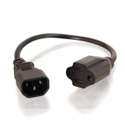 C2G Cable de Poder NEMA 5-15 Hembra - C14 Acoplador, 30cm, Negro