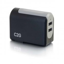 C2G Cargador de Pared 20276, 5V, 2x USB 2.0, Negro/Gris