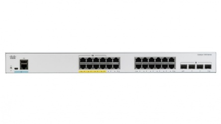 Switch Cisco Gigabit Ethernet Catalyst 1000, 24 Puertos PoE+ 195W, 4 Puertos SFP+, 56 Gbit/s, 15.360 Entradas - Gestionado