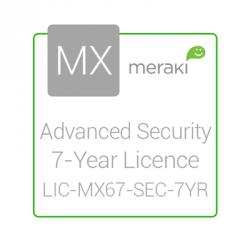 Cisco Meraki Licencia de Seguridad Avanzada y Soporte, 1 Licencia, 7 Años, para MX67
